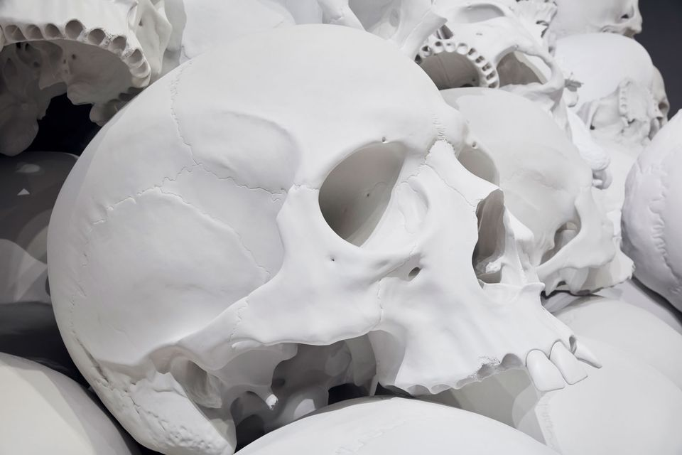 The artist's references for the work include the grisly mountains of skulls that bore testament to Pol Pot's Cambodian killing fields, the Parisian catacombs, and Paul Cezanne's painting Pyramid of Skulls. The artist made a small model of the NGV space and arranged tiny skull models in it, to show the Australian end what  his thoughts were, according to senior curator of Australian art at the NGV, David Hurlston.