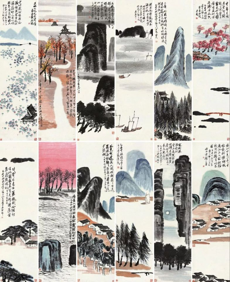 Set of 12 ink-brush paintings by Qi Baishi sold at Poly Auction Beijing for a record RMB931.5m ($141m)