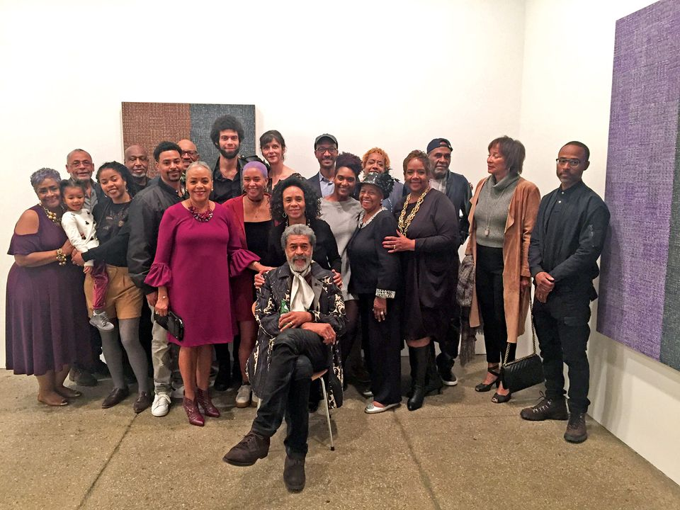 Kith and kin: McArthur Binion (seated) with his relatives Artist McArthur Binion (seated) with his family at his Oct 2017 exhibition opening in NYC