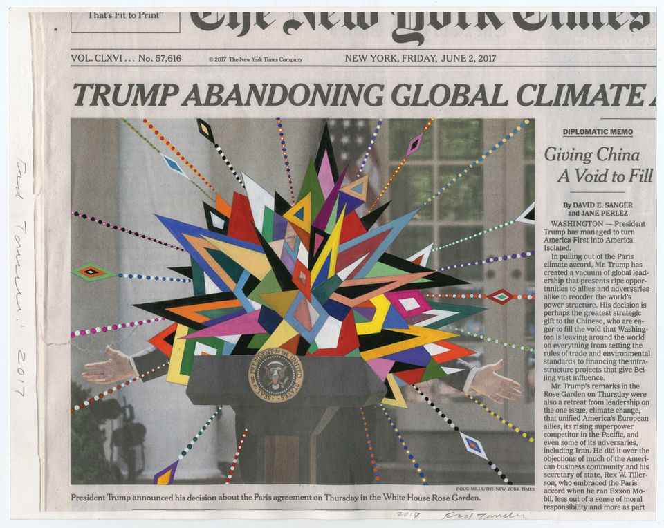 Fred Tomaselli's June 2; 2017 (2017) features his signature use of the New York Times