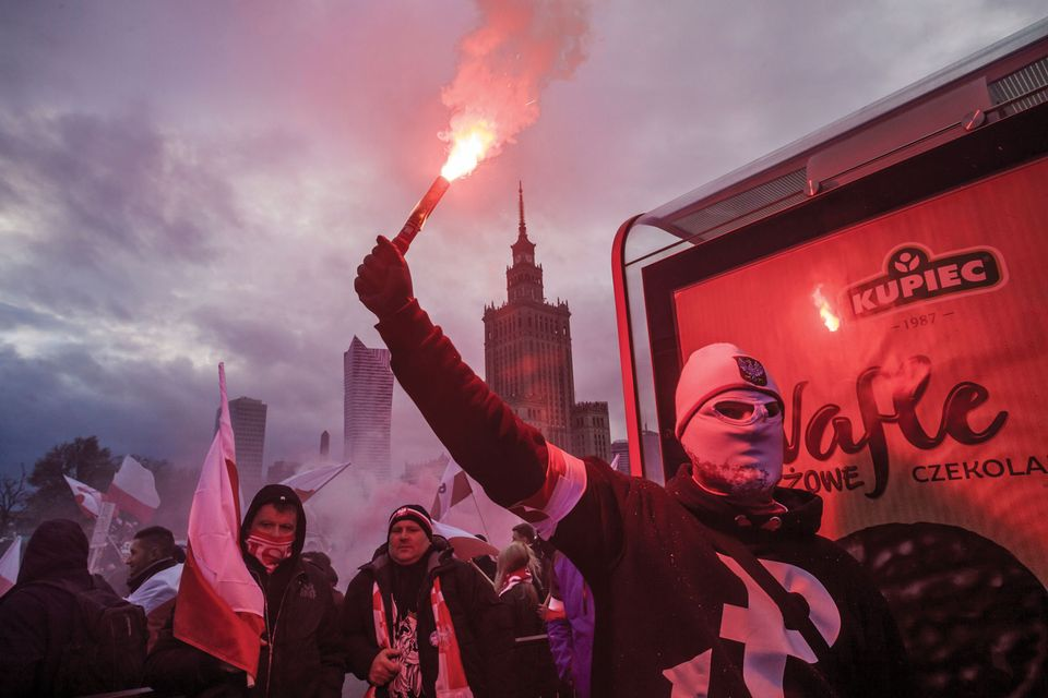 Far-right nationalist groups marching in Warsaw last month