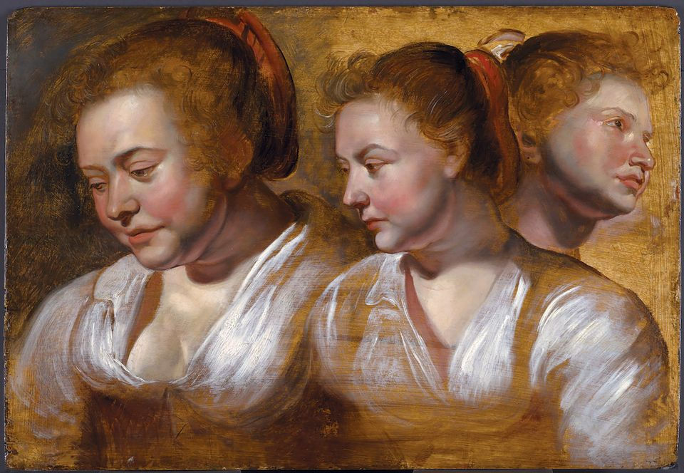 Three Studies of a Young Woman (around 1615) by Jacob Jordaens