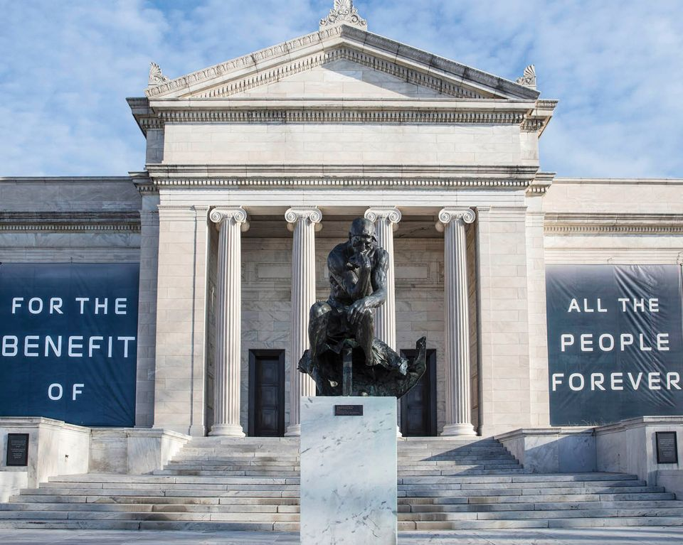 """For the Benefit of All the People Forever"" banners on the Cleveland Museum of Art's building"