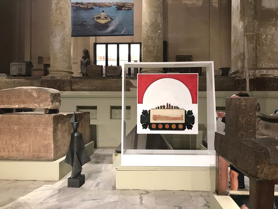 Pharaonic references are favourites in Egyptian contemporary art. Esmat Dawestashy's The Half Circle of Death (1981) among the sarcophaguses in Eternal Light: Something Old, Something New, the Egyptian Museum