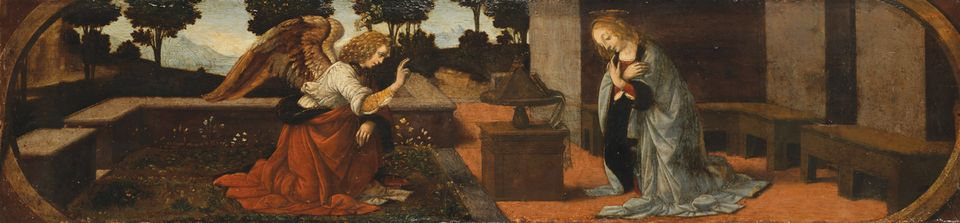 The Miracle will be shown alongside the Louvre's Annuciation, also said to be mostly by the master Attributed to Leonardo da Vinci and Lorenzo di Credi,  The Annunciation,  about 1475-78, Painting on wood, Musée du Louvre