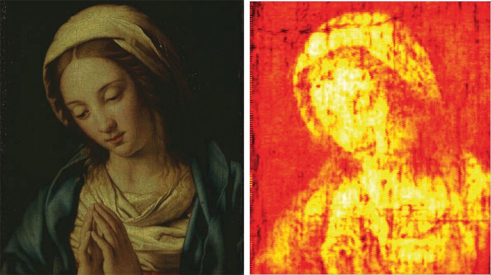 Researchers created a 3D map of this 17th-century painting of the Madonna This image shows reflected raw terahertz signals measured across the painting