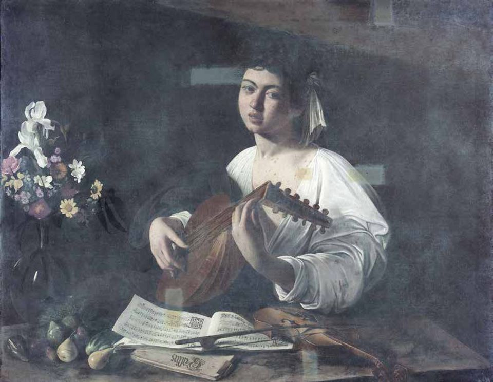 Caravaggio's The Lute Player (1595-96). The painting was covered by a thick film of varnish (left) before undergoing major work