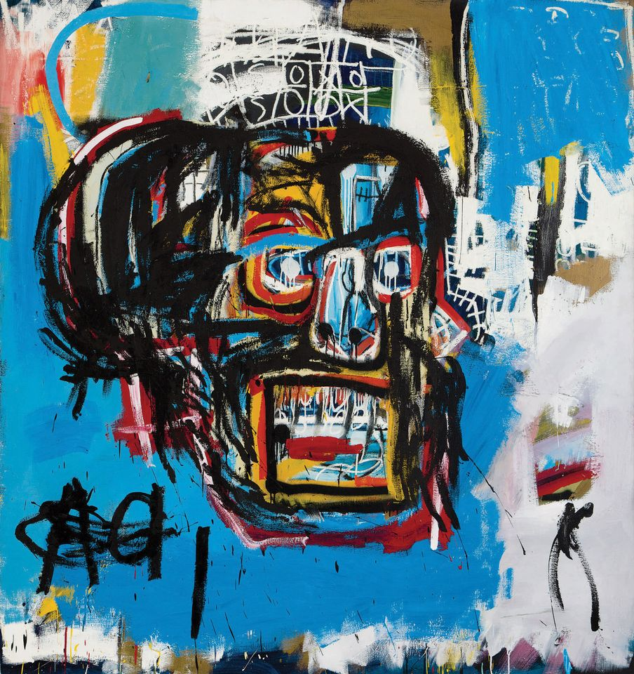 Jean-Michel Basquiat, Untitled (1982) signed, inscribed NYC and dated 82 on the reverse acrylic, spray paint and oilstick on canvas 72 1/8 by 68 1/8 in. 183.2 by 173 cm. Estimate in excess of $60 million Sold for $110,487,500