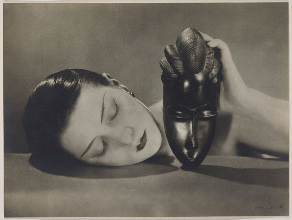 Man Ray, Noire et Blanche (1926) being presented in the sale of the Thomas Koerfer Private Collection at Christie's on 9 November 2017. This is believed to be the earliest print of 24 existing ones. Courtesy CHRISTIE'S IMAGES LTD. 2017  MAN RAY (1890-1976) Noire et Blanche, 1926 Gelatin silver print signed and dated in pencil 'MAN RAY '26'(image); stamped in ink with photographer's rue Campagne Première credit [Manford M2] (verso) image/sheet: 20.6 x 27.5 cm. (8⅛ x 10¾ in.) This print is accompagned by a note in pencil 'Ancienne Collect Jacques - Doucet. Donné à Mme Talbot Suzanne célèbre couturière Paris 15-10-1930', and by an enveloppe inscribed in ink 'peint à la même époque et sous la même inspiration que son grand oeuvre du Radeau de la Méduse Gericault photo et M. R'.