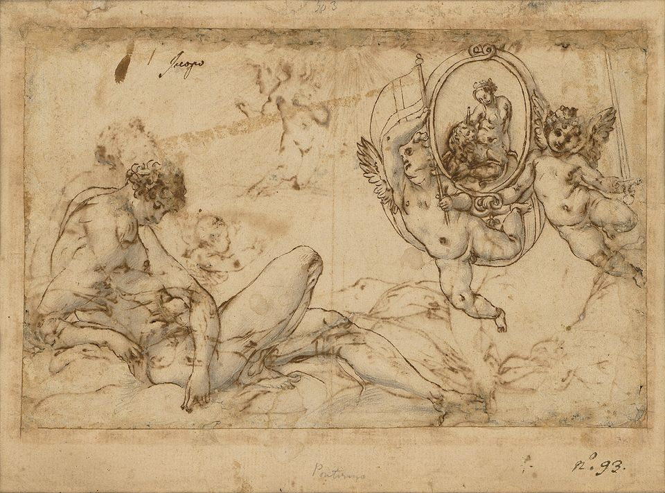 Mercury and Astraea and, on the other side of the paper (below), Saturn and Ceres, both drawn in around 1537 by Jacopo Pontormo, and on show at Master Drawings New York