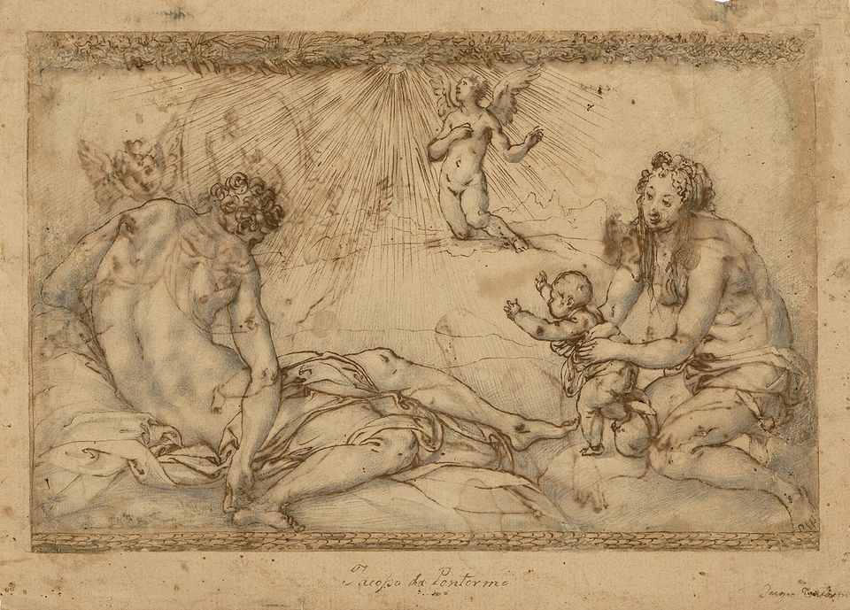 Mercury and Astraea (above) and, on the other side of the paper, Saturn and Ceres, both drawn in around 1537 by Jacopo Pontormo, and on show at Master Drawings New York