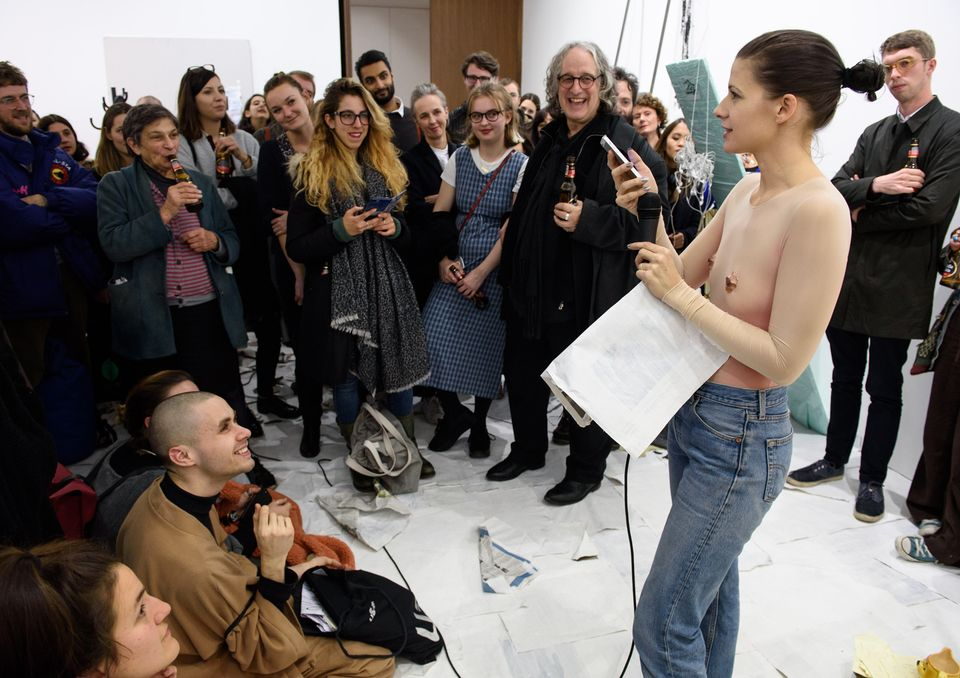Sophie Jung's richly idiosyncratic and packed-out performance at Blain Southern