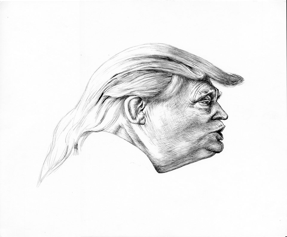 Jim Shaw's caricatures include Trump Distortion #1 (2017)
