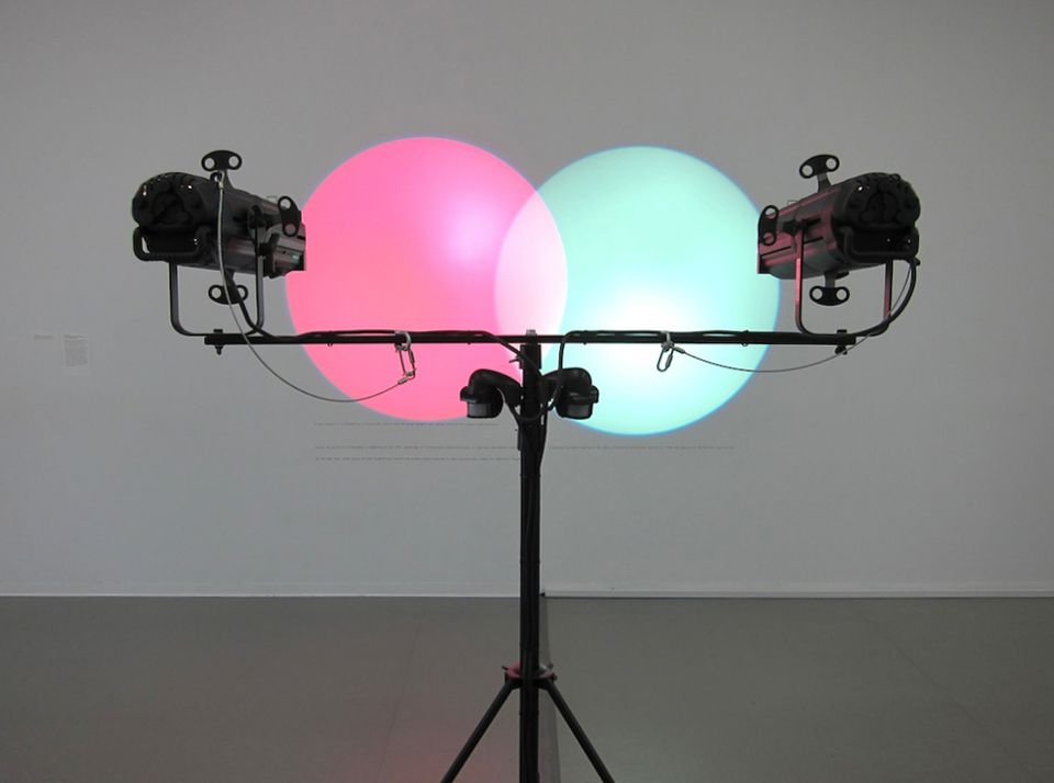 Amalia Pica, Venn Diagrams (Under the Spotlight) (2011). Spotlights and motion sensors. Dimensions variable. Promised gift of Patricia Phelps de Cisneros through the Latin American and Caribbean Fund