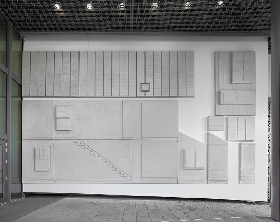Detail of Rachel Whiteread's US Embassy (Flat pack house; 2013-1015)