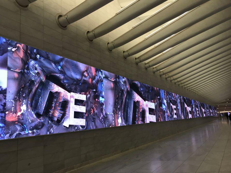 Marilyn Minter's video I'm Not Much But I'm All I Think I Am on view at the Oculus