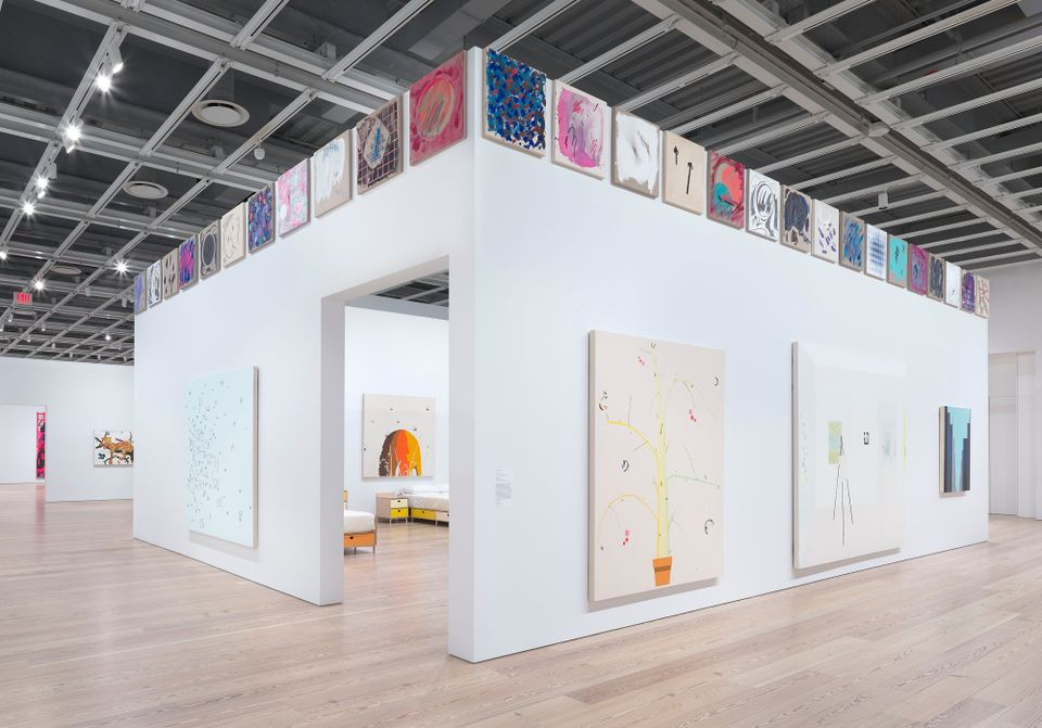 Installation view of Laura Owens (Whitney Museum of American Art, New York, November 10, 2017–February 4, 2018)
