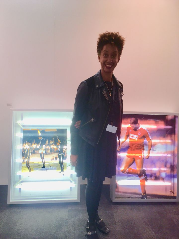 Iniva director Melanie Keen with Donald Rodney's lightboxes at London Art Fair