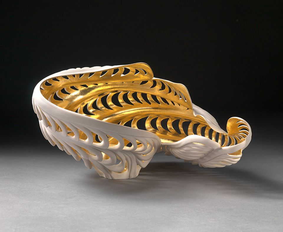 Jennifer McCurdy's porcelain Gilded River Vessel (2014), on offer at Michele Beiny's stand at the Winter Antiques Show