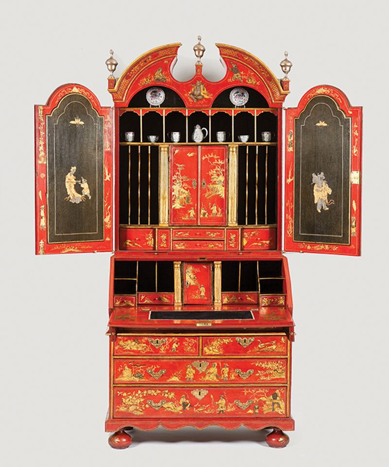 Red Japanned bureau cabinet (English, circa 1720), shown by London's Apter-Fredericks