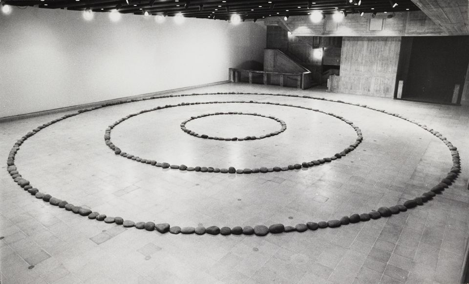 Richard Long's Three Circles of Stones in the Hayward Gallery's The New Art exhibition