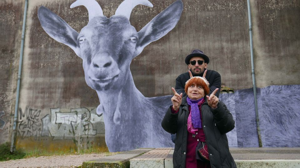 JR and Agnès Varda in Faces Places, directed by Agnès Varda and JR
