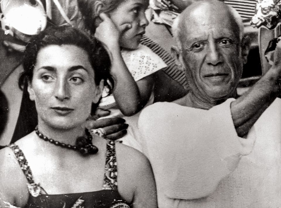 Pablo Picasso with Jacqueline, his wife and muse, in 1955