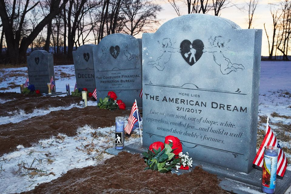 Gone but not fore-gotten: the tombstones lament the death of The American Dream and Decency