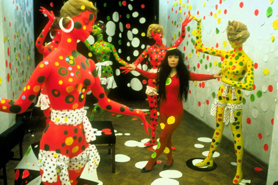 The artist Yayoi Kusama at the Orez Gallery in the Hague, Netherlands in 1965, in Kusama-Infinity, directed by Heather Lenz