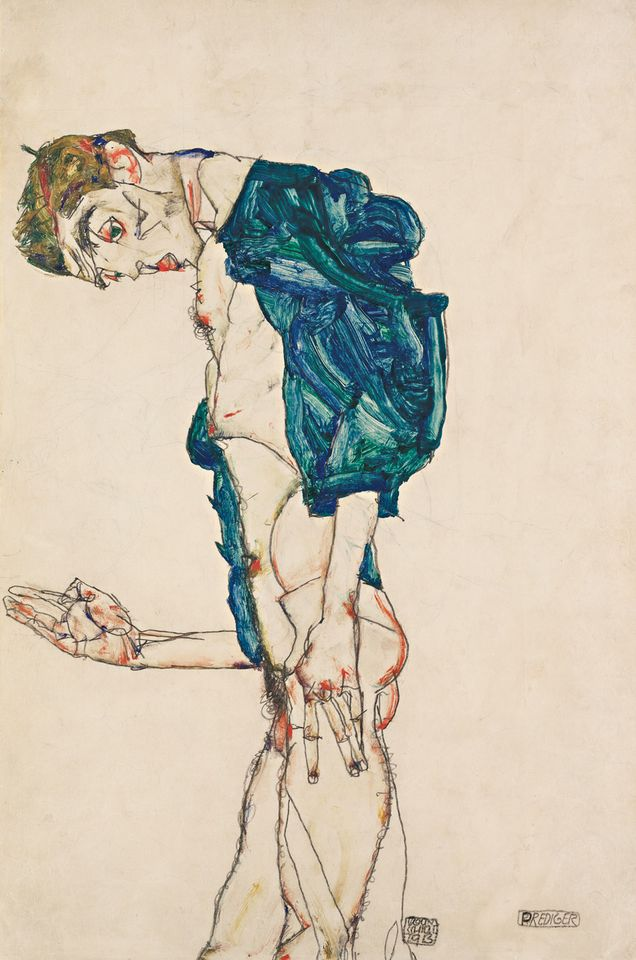 Schiele's Preacher (Nude Self-Portrait with Blue-Green Shirt) (1913)