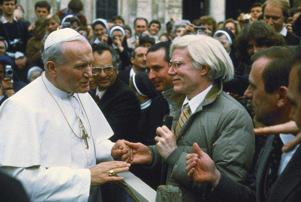 Pope John Paul II with Andy Warhol