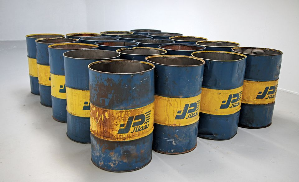 20 Naftal Oil Barrels form part of Ourahmane's installation The Third Choir (2014-2015)
