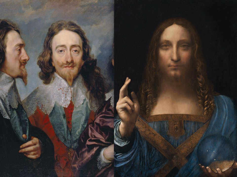 Detail of Anthony van Dyck's Charles I (1635-36) and Leonardo's Salvator Mundi (around 1500) was sold for £45 at Sotheby's London in 1958. Photo: © Christie's Images, 2017