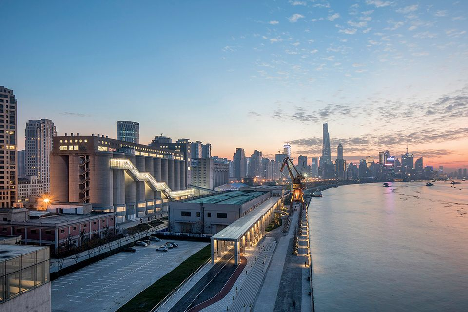 A huge converted grain silo on the Huangpu river hosted a festival of art and urban planning late last year