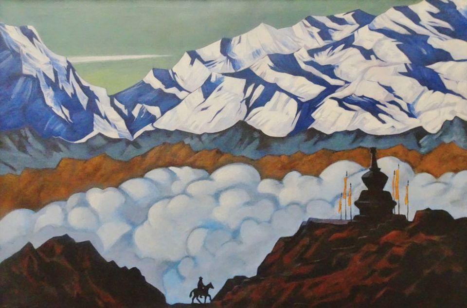 Mountainlandscape asribed to Roerich in the Ghent exhibition