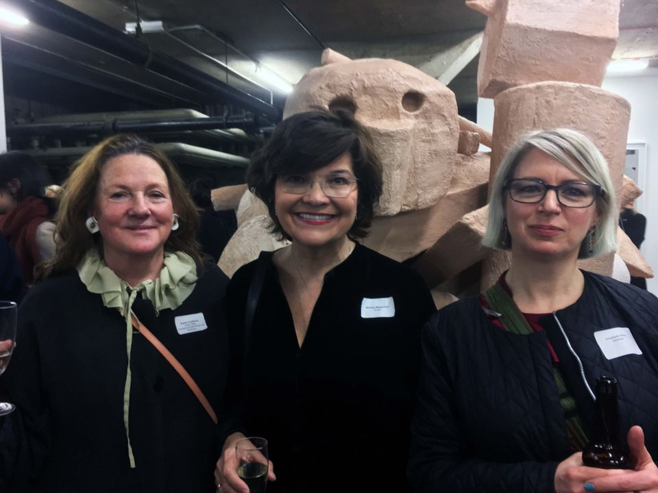 From left: New Contemporaries chair Sacha Craddock, participating artist Melissa Magnuson, and the artist-judge Elizabeth Price