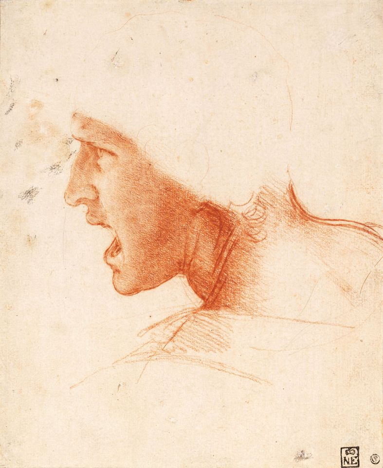 The Teylers Museum will show Leonardo da Vinci's Study of a Warrior's Head for the Battle of Anghiari (1504-05), borrowed from Budapest