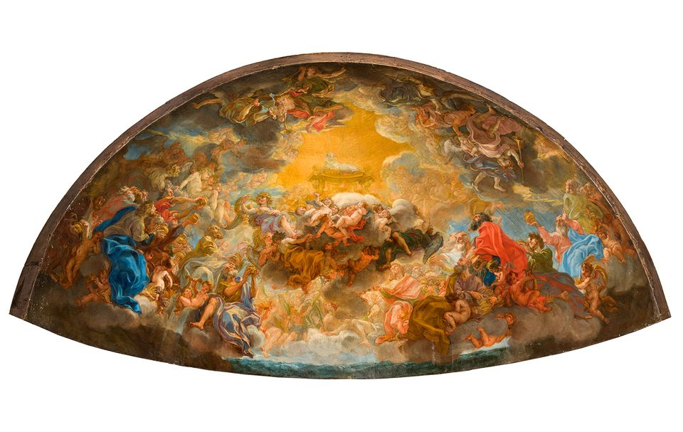Giovanni Battista Gaulli, Painted Model for the Apse Fresco of the Gesù  , 168  0   Oil on paper, laid down on wood   39 ¾  x 78 ¾ x 39 3/8 in. (100 x 200 x 90 cm)   Church of the Gesù, Rome (museum)