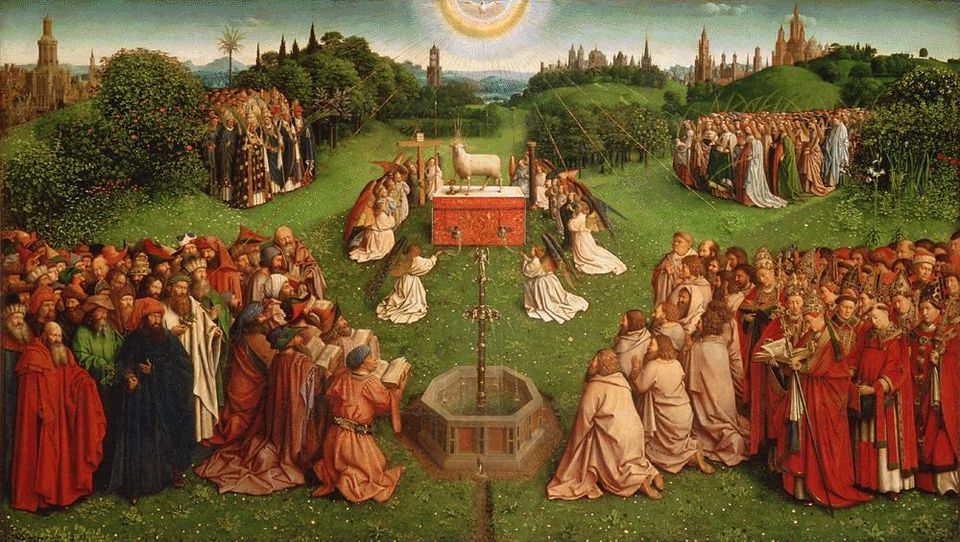 The central panel of Jan van Eyck's Adoration of the Mystic Lamb