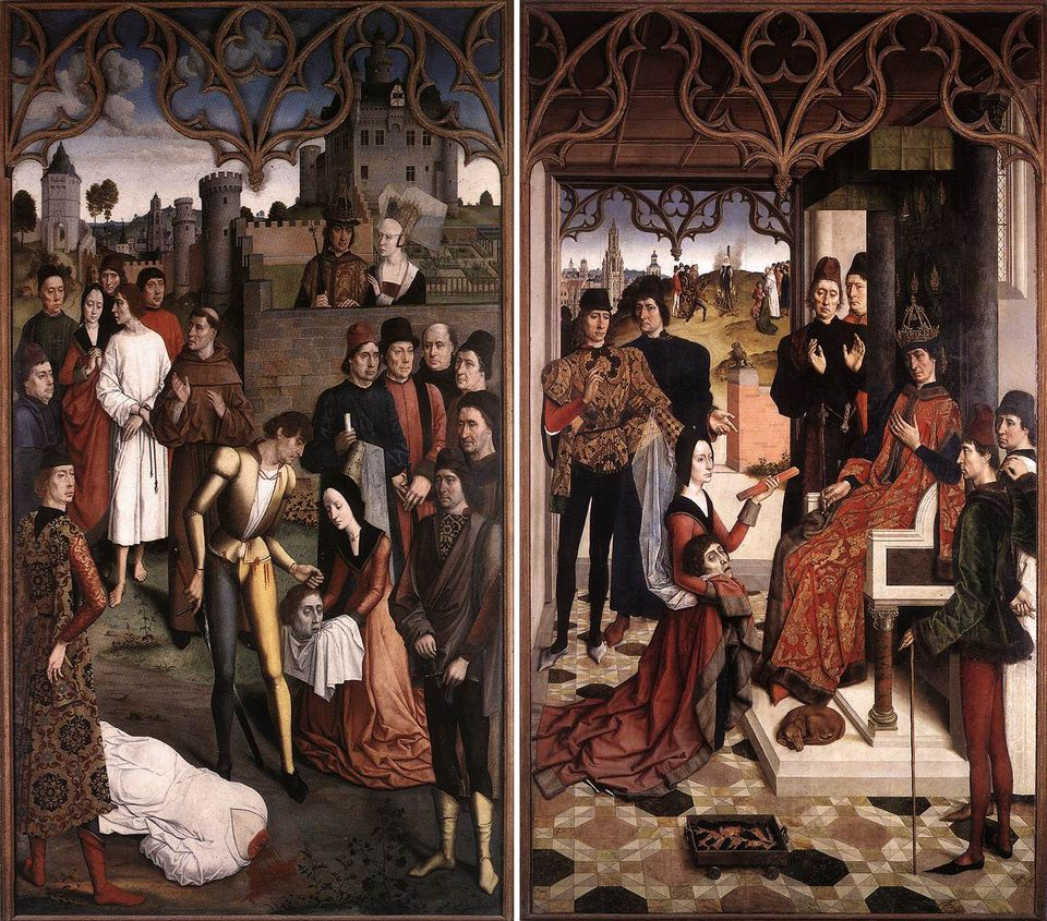 A diptych of The Justice of Emperor III by Dieric Bouts the Elder