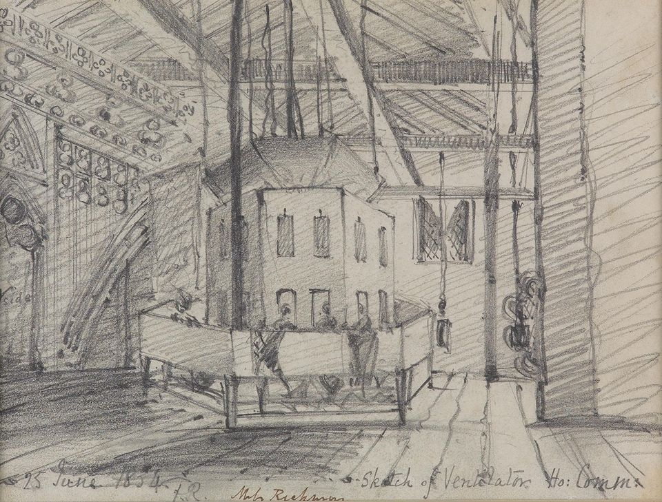 Frances Rickman's sketch of the Ventilator in the Ladies Gallery Attic in St Stephens (1834)
