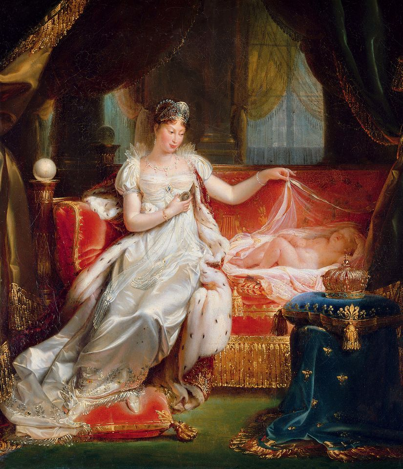 Joseph Franque (1774-1833), The Empress Marie-Louise Watching Over the Sleeping King of Rome, presented at the Salon of 1812, 1811, oil on canvas. Musée national des châteaux de Versailles et de Trianon