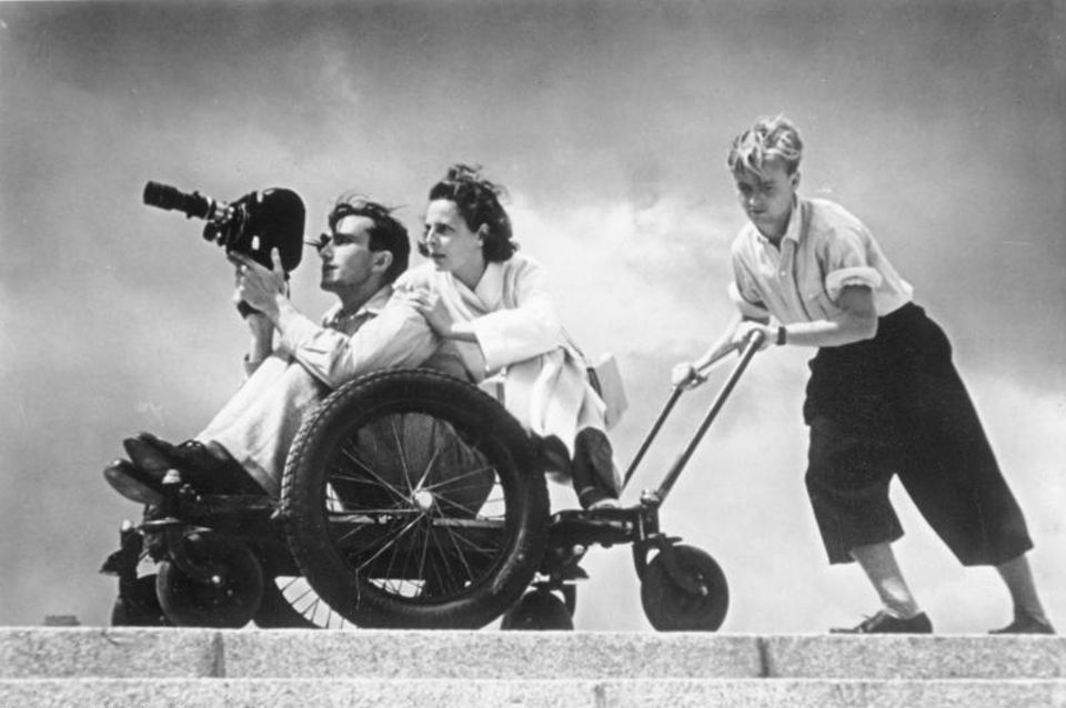 Leni Riefenstahl during filming in 1936