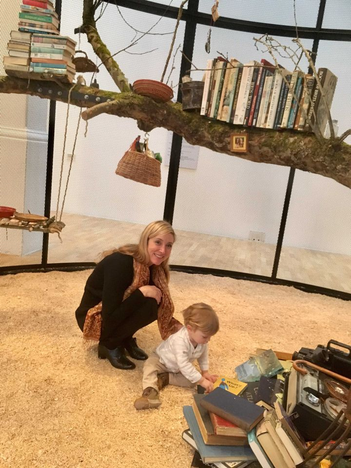 Mark Dion's 18-month old son Fairfield with his mother the artist Dana Sherwood