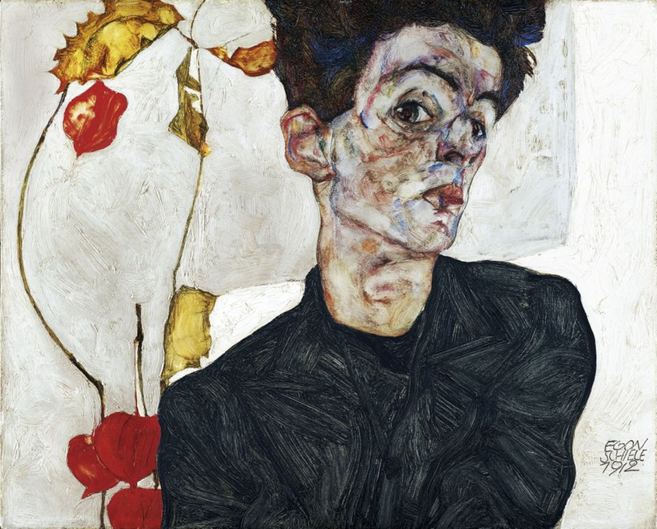 Egon Schiele, Self-portrait with Chinese Lantern Plant (1912)