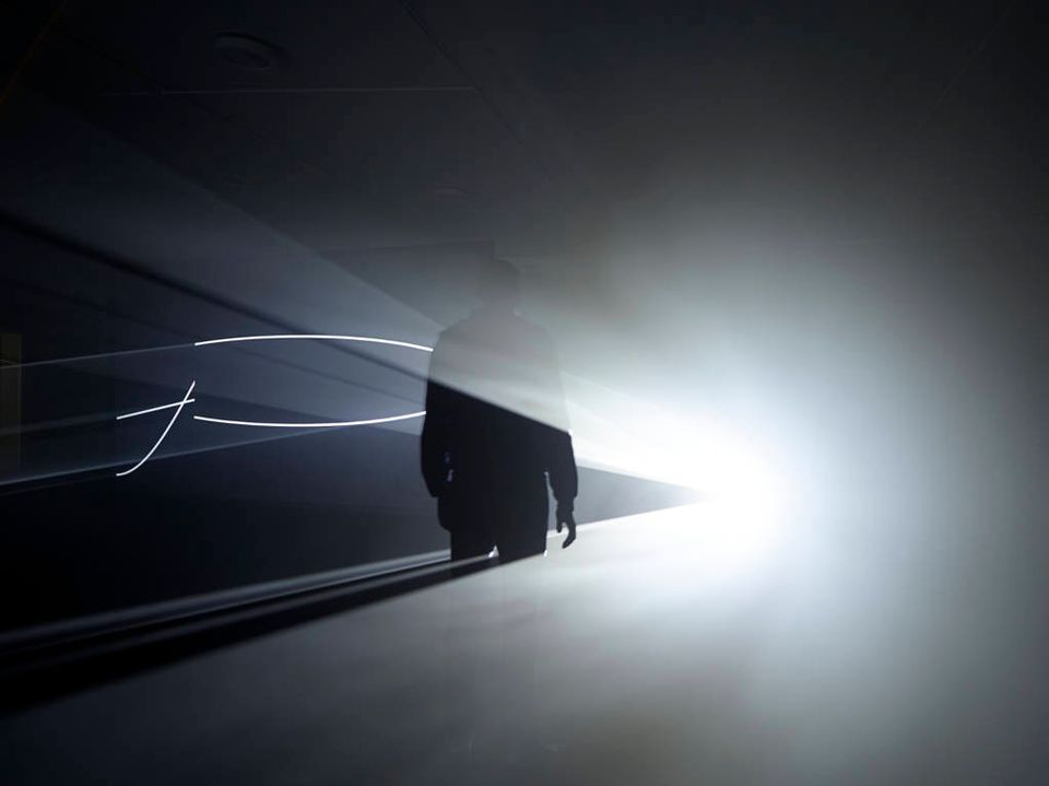 """The final of the three UK premieres is Face to Face (2013, also depicted in image 1), perhaps the exhibition's most immersive. Bonacina describes it as """"a double projection that incorporates two large scale floating screens that allows the viewer to walk entirely around the work."""""""