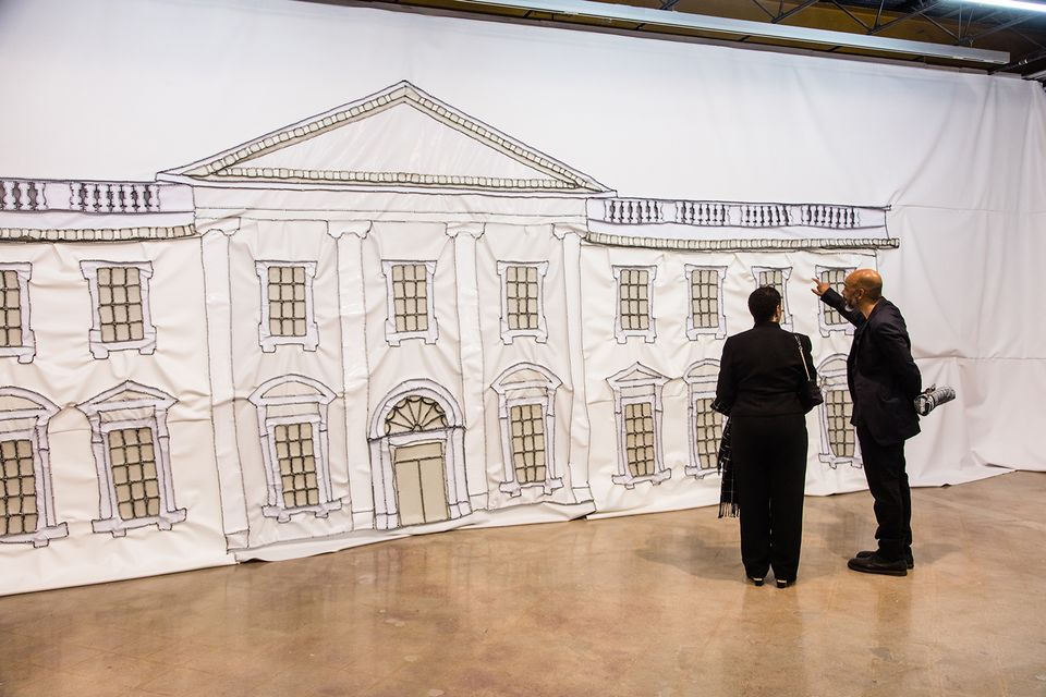 Rodney McMillian, right, with his mother Eunice Graham in front of White House Painting (2018)