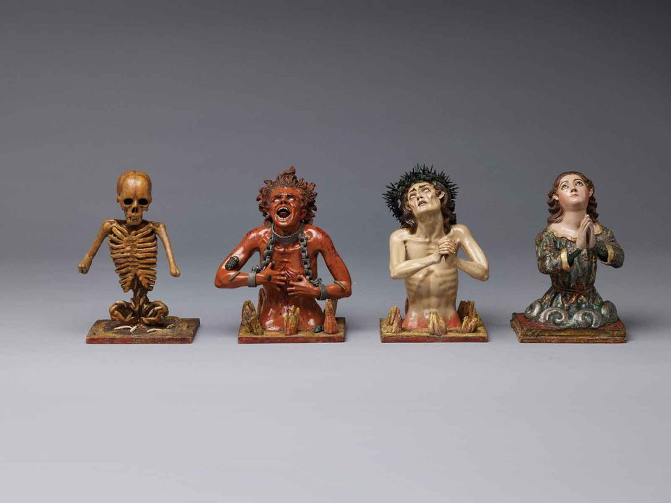 Polychrome wooden sculptures attributed to Manuel Chili, Caspicara (Ecuador, 1723-96) Four Fates of the Soul: Death; Soul in Heaven; Soul in Purgatory; Soul in Hell (around 1775)