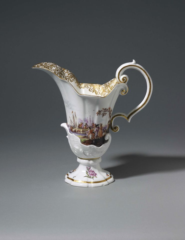 A Meissen ewer (around 1740-45) with a landscape scene, priced at £12,500 with Brian Haughton Gallery