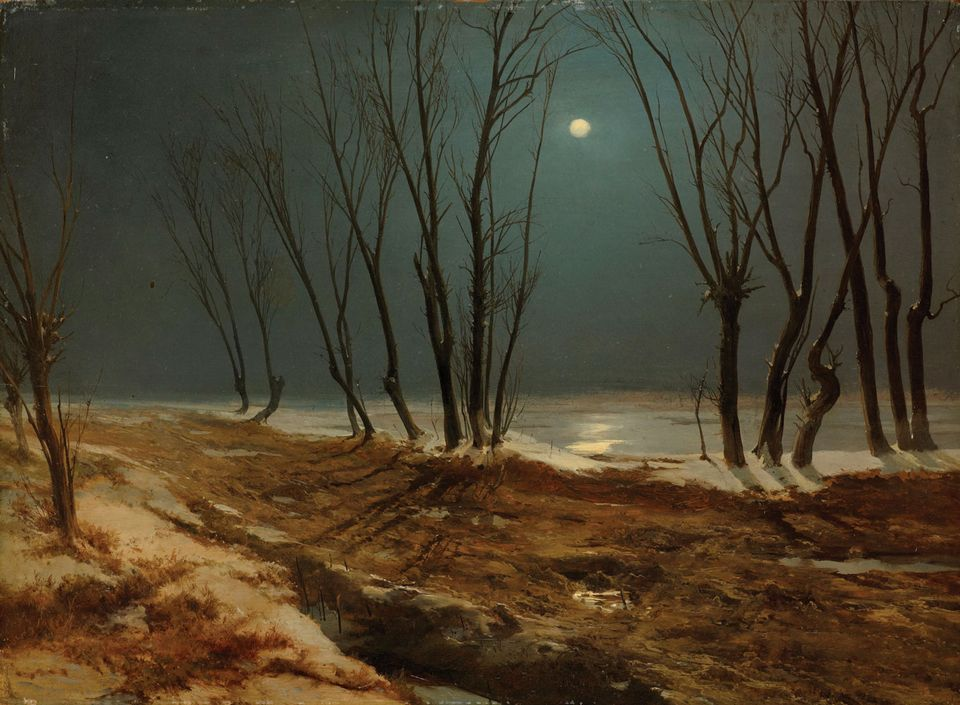 Country Road in Winter at Moonlight (1836) by Carl Blechen